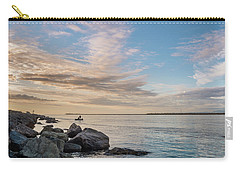 Fishing Along The South Jetty Carry-all Pouch by Greg Nyquist