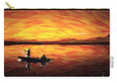 Fishing At Golden Hours Carry-all Pouch by Adam Asar