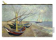 Carry-all Pouch featuring the painting Fishing Boats On The Beach by Van Gogh