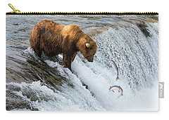 Carry-all Pouch featuring the painting Fishing Brown Bear At Brooks Falls, Katmai National Park by Artistic Panda