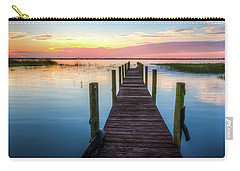 Carry-all Pouch featuring the photograph Fishing Dock At Sunrise by Debra and Dave Vanderlaan