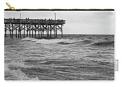Carry-all Pouch featuring the photograph Fishing Off The Pier At Myrtle Beach by Chris Flees