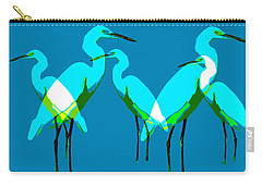 Carry-all Pouch featuring the painting Five Egrets by David Lee Thompson