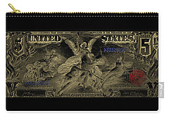 Carry-all Pouch featuring the digital art Five U.s. Dollar Bill - 1896 Educational Series In Gold On Black  by Serge Averbukh