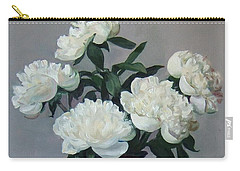 Five White Peonies In Purple Vase Carry-all Pouch
