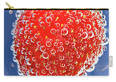 Fizzy Strawberry With Bubbles On Blue Background Carry-all Pouch