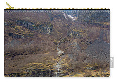 Carry-all Pouch featuring the photograph Fjord Waterfall by Suzanne Luft