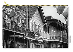 Flags On Bourbon In Black And White Carry-all Pouch