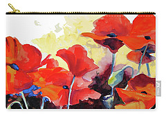 Carry-all Pouch featuring the painting Flaming Poppies by Kathy Braud