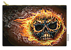 flaming skull Punk Gothic Biker Art Carry-all Pouch