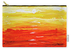 Carry-all Pouch featuring the painting Flaming Sunset Abstract 205173 by Mas Art Studio