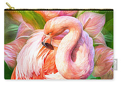 Flamingo Flower Mixed Media Carry-All Pouches