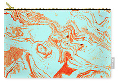 Flamingo And Sea Marble Carry-all Pouch by Uma Gokhale