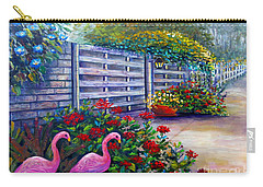 Flamingo Gardens Carry-all Pouch by Lou Ann Bagnall