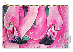 Carry-all Pouch featuring the painting Flamingo Magic by Zaira Dzhaubaeva