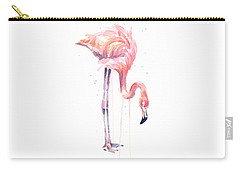 Flamingo Painting Watercolor Carry-all Pouch by Olga Shvartsur