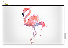 Flamingo Watercolor Carry-all Pouch by Olga Shvartsur
