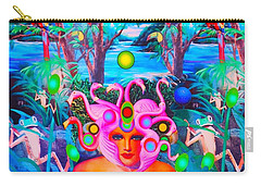 Carry-all Pouch featuring the photograph Flamingodeusa In The Neon Jungle by Douglas Fromm