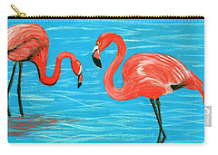 Carry-all Pouch featuring the painting Flamingos by Anastasiya Malakhova