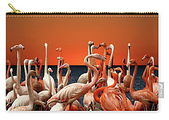 Carry-all Pouch featuring the photograph Flamingos At The Cape by Ericamaxine Price