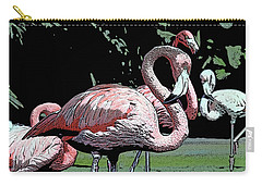 Carry-all Pouch featuring the photograph Flamingos I by Jim and Emily Bush