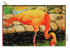 Flamingo's Paradise Carry-all Pouch by Cheryl Poland