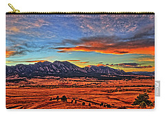 Carry-all Pouch featuring the photograph Flatiron Sunset Fire Red by Scott Mahon