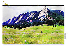 Carry-all Pouch featuring the digital art Flatirons - Boulder, Colorado by Joseph Hendrix