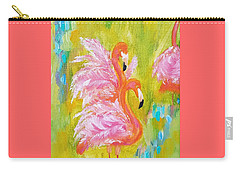 Carry-all Pouch featuring the painting Flaunting Feathers by Judith Rhue