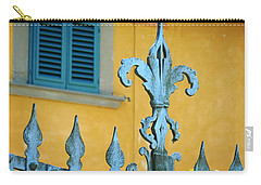 Fleur De Lis In Verdigris Carry-all Pouch by Valerie Reeves