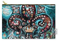 Carry-all Pouch featuring the painting Fleur De Lis Steampunk Style by Genevieve Esson