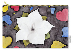 Carry-all Pouch featuring the painting Fleur Et Coeurs by Marc Philippe Joly