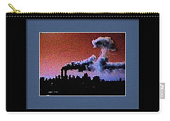 Carry-all Pouch featuring the digital art Flight 175 Mushroom Cloud Framed Example by James Kosior