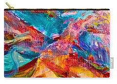 Carry-all Pouch featuring the painting Floating Feather Swirls by Claire Bull