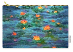 Carry-all Pouch featuring the painting Floating Gems by Holly Martinson
