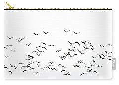 Flock Of Beautiful Migratory Lapwing Birds In Clear Winter Sky I Carry-all Pouch by Matthew Gibson