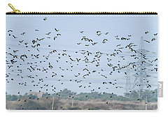 Flock Of Beautiful Migratory Lapwing Birds In Clear Winter Sky Carry-all Pouch