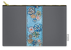 Floor Cloth Blue Flowers Carry-all Pouch by Judith Espinoza
