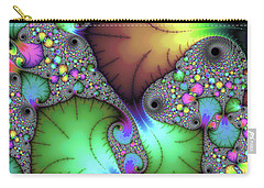 Carry-all Pouch featuring the photograph Floral Abstract Fractal Art Green Gold Brown Purple by Matthias Hauser