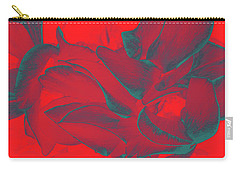 Floral Abstract In Dramatic Red Carry-all Pouch