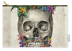 Floral Beard Skull Carry-all Pouch