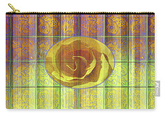 Floral Pattern And Design With Rose Center - Purple And Yellow Carry-all Pouch
