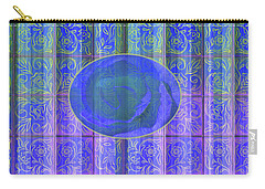 Floral Pattern And Design With Rose Center - Blue And Yellow Carry-all Pouch by Brooks Garten Hauschild