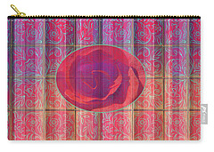 Floral Pattern And Design With Rose Center - Red And Blue Carry-all Pouch by Brooks Garten Hauschild