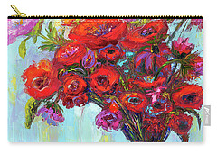 Red Poppies In A Vase, Summer Floral Bouquet, Impressionistic Art Carry-all Pouch