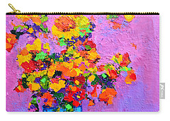 Floral Still Life - Flowers In A Vase Modern Impressionist Palette Knife Artwork Carry-all Pouch