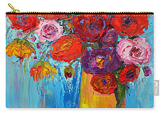 Wild Roses And Peonies, Original Impressionist Oil Painting Carry-all Pouch