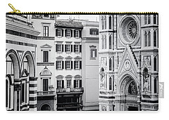 Carry-all Pouch featuring the photograph Florence Italy View Bw by Joan Carroll