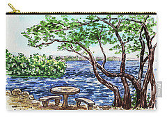 Carry-all Pouch featuring the painting Florida Keys John Pennekamp Park Shore by Irina Sztukowski