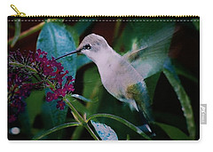 Flower And Hummingbird Carry-all Pouch